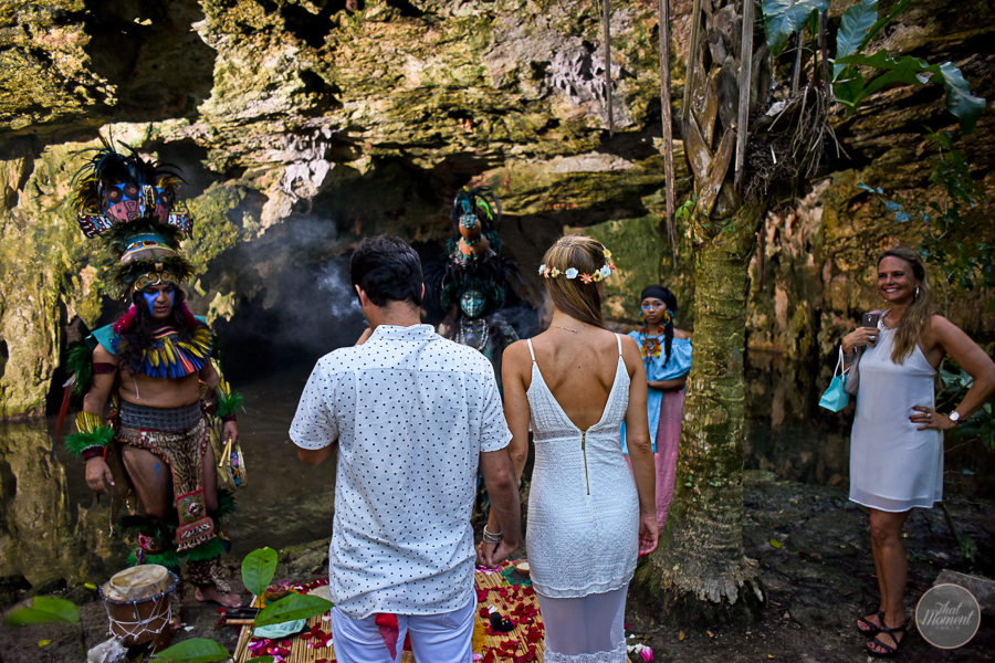 he couple celebrated their wedding in a spiritual Mayan cenote