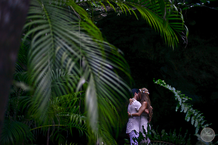 the couple celebrated their wedding in spiritual Mayan cenote