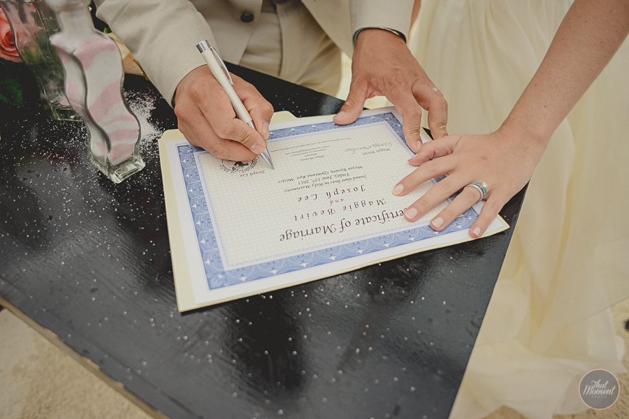 he couple signed their wedding certificate